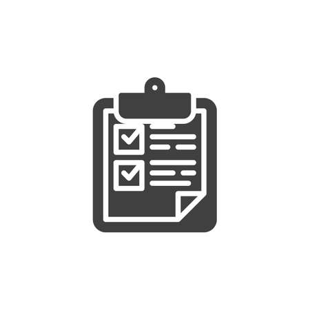 Clipboard with checklist vector icon. filled flat sign for mobile concept and web design. Check list form glyph icon. Symbol, logo illustration. Vector graphics Stock Illustratie