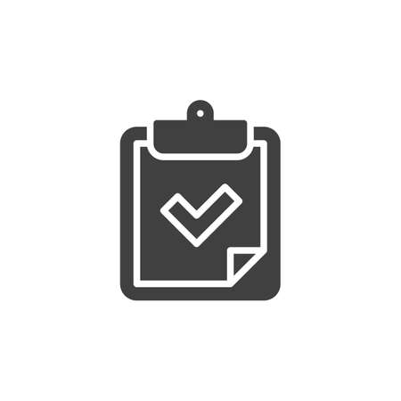 Checklist checkmark vector icon. filled flat sign for mobile concept and web design. Paper clipboard with check mark glyph icon. Symbol, logo illustration. Vector graphics Ilustrace