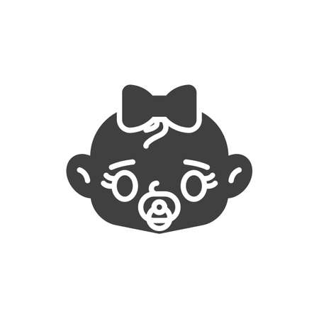 Baby girl with pacifier vector icon. filled flat sign for mobile concept and web design. Baby girl sucks soother glyph icon. Symbol, logo illustration. Vector graphics Illustration