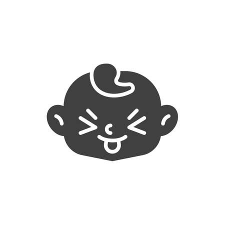 Squinting Face with Tongue vector icon. filled flat sign for mobile concept and web design. Child stuck out tongue  glyph icon. Symbol, logo illustration. Vector graphics