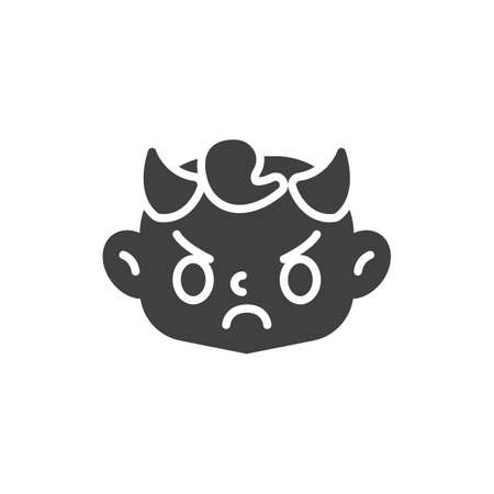 Angry baby Face with Horns vector icon. filled flat sign for mobile concept and web design. Evil child head glyph icon. Symbol, logo illustration. Vector graphics