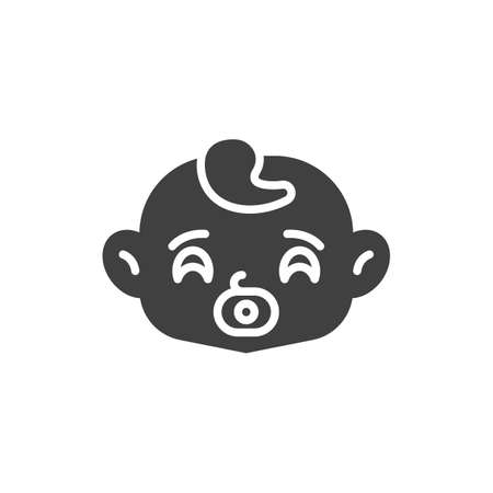 Baby sucks pacifier vector icon. filled flat sign for mobile concept and web design. Baby face with soother glyph icon. Symbol, logo illustration. Vector graphics
