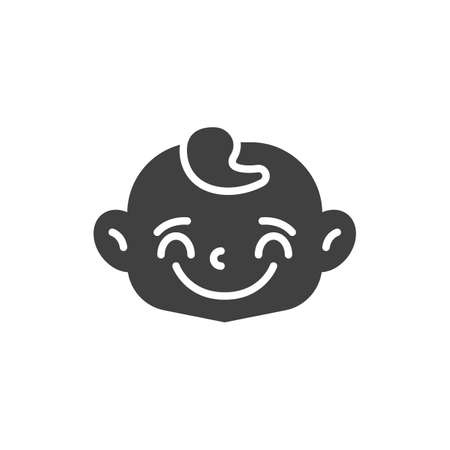 Joyful baby face vector icon. filled flat sign for mobile concept and web design. Happy child face glyph icon. Symbol, logo illustration. Vector graphics
