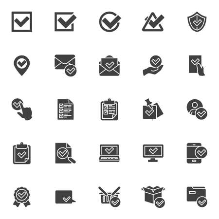 Confirmation, approval vector icons set, check mark modern solid symbol collection, filled style pictogram pack. Signs, logo illustration. Set includes icons as received message, checklist document  イラスト・ベクター素材