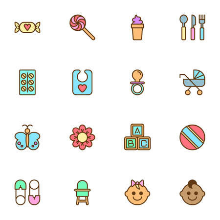 Baby items filled outline icons set, line vector symbol collection, linear colorful pictogram pack. Signs illustration, Set includes icons as sweets, rubber ball, alphabet blocks, pacifier, chair