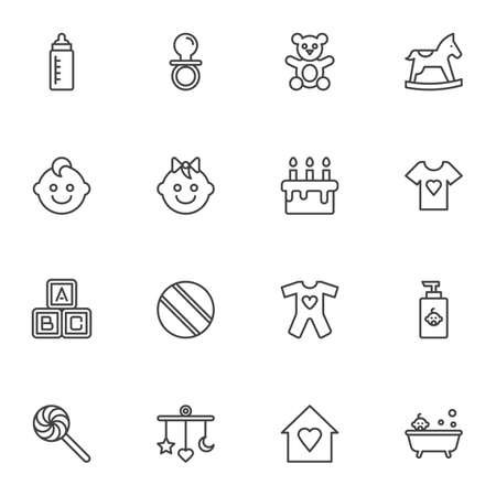 Baby items line icons set, outline vector symbol collection, linear style pictogram pack. Signs, illustration. Set includes icons as bear soft toy, pacifier, feeding bottle, bath, boy and girl