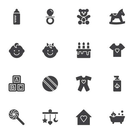 Baby items vector icons set, modern solid symbol collection, filled style pictogram pack. Signs, illustration. Set includes icons as bear soft toy, pacifier, feeding bottle, bath, boy and girl