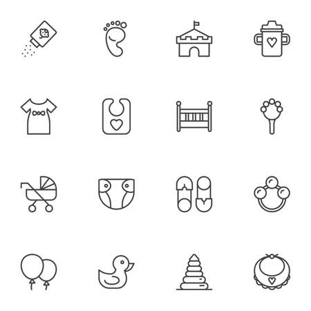 Baby related items line icons set, outline vector symbol collection, linear style pictogram pack. Signs, illustration. Set includes icons as rattle, feeding bottle, baby girl dress, crib, diaper Çizim