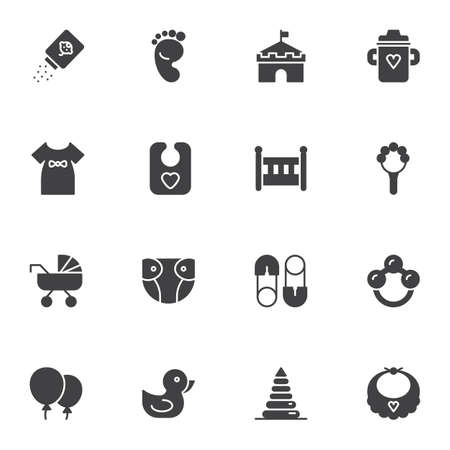 Baby related items vector icons set, modern solid symbol collection, filled style pictogram pack. Signs, illustration. Set includes icons as rattle, feeding bottle, baby girl dress, crib, diaper Çizim