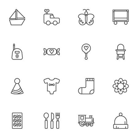 Baby items line icons set, outline vector symbol collection, linear style pictogram pack. Signs, illustration. Set includes icons as clothes, socks, romper, feeding chair, candy, crib, medicine