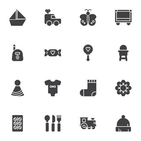 Baby items vector icons set, modern solid symbol collection, filled style pictogram pack. Signs, illustration. Set includes icons as clothes, socks, romper, feeding chair, candy, crib, medicine