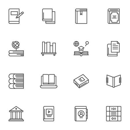 Education books line icons set, outline vector symbol collection, linear style pictogram pack. Signs, illustration. Set includes icons as geography, online library, ebook, bookshelf, bookmark,