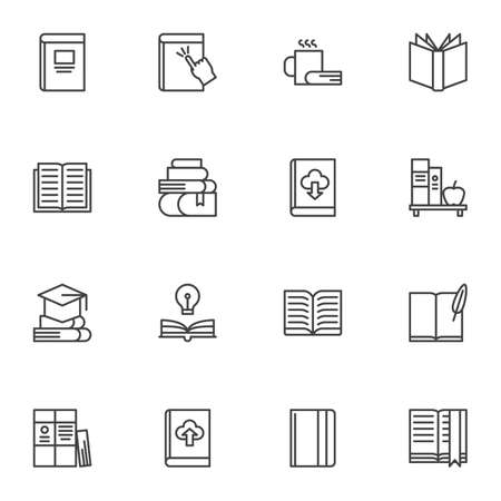Books line icons set, outline vector symbol collection, linear style pictogram pack. Signs, illustration. Set includes icons as online ebook download, bookshelf, literature, book page, notebook