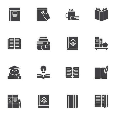 Books vector icons set, modern solid symbol collection, filled style pictogram pack. Signs, illustration. Set includes icons as online ebook download, bookshelf, literature, book page, notebook