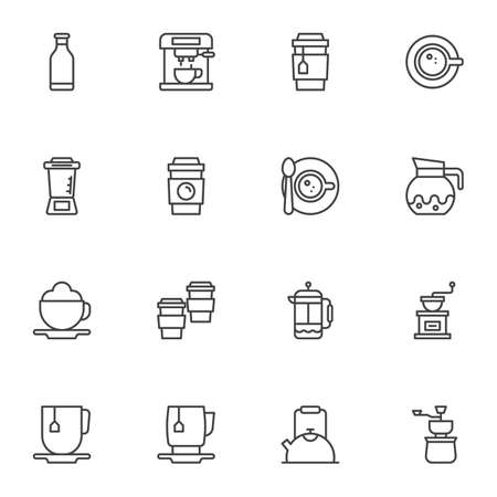 Coffee drink line icons set, outline vector symbol collection, linear style pictogram pack. Signs, illustration. Set includes icons as coffee maker machine, bean grinder, tea mug, saucer and cup