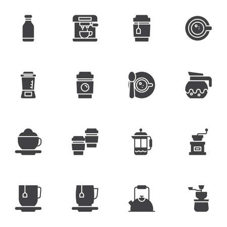Coffee drink vector icons set, modern solid symbol collection, filled style pictogram pack. Signs, illustration. Set includes icons as coffee maker machine, bean grinder, tea mug, saucer and cup Çizim