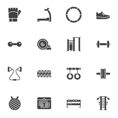 Sports equipment vector icons set, modern solid symbol collection, filled style pictogram pack. Signs, illustration. Set includes icons as fitness treadmill, gym training apparatus, gymnastics