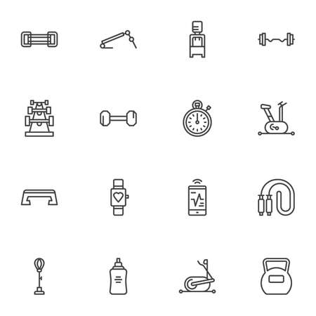 Gym and fitness line icons set, outline vector symbol collection, sports equipment linear style pictogram pack. Signs, illustration. Set includes icons as stopwatch, exercise bike, barbell, water