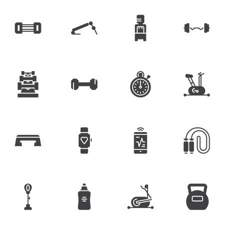 Gym and fitness vector icons set, modern solid symbol collection, sports equipment filled style pictogram pack. Signs, illustration. Set includes icons as stopwatch, exercise bike, barbell, water