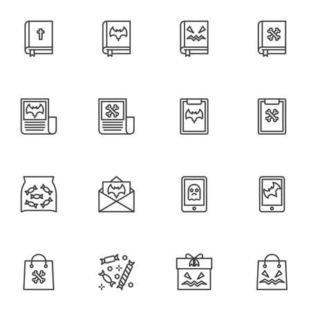 Halloween shopping line icons set, outline vector symbol collection, linear style pictogram pack. Signs illustration. Set includes icons as bible book with holy cross, party invitation card, gift