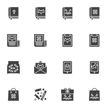 Halloween shopping vector icons set, modern solid symbol collection, filled style pictogram pack. Signs illustration. Set includes icons as bible book with holy cross, party invitation card, gift