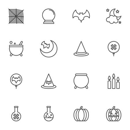 Happy Halloween line icons set, outline vector symbol collection, linear style pictogram pack. Signs, illustration. Set includes icons as spider web, flying bat, pumpkin, candles, night moon