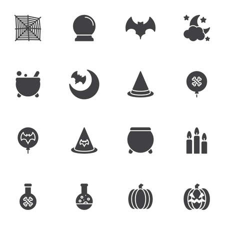 Happy Halloween vector icons set, modern solid symbol collection, filled style pictogram pack. Signs, illustration. Set includes icons as spider web, flying bat, pumpkin, candles, night moon