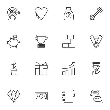 Business motivation line icons set, outline vector symbol collection, linear style pictogram pack. Signs, illustration. Set includes icons as aim target, money bag, award cup, career ladder