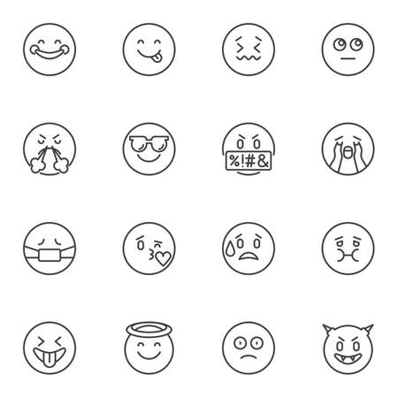 Emoji mood line icons set, outline vector symbol collection, emoticon linear style pictogram pack. Signs, illustration. Set includes icons as happy smiley, angry, crying, kissing, sad, smiling