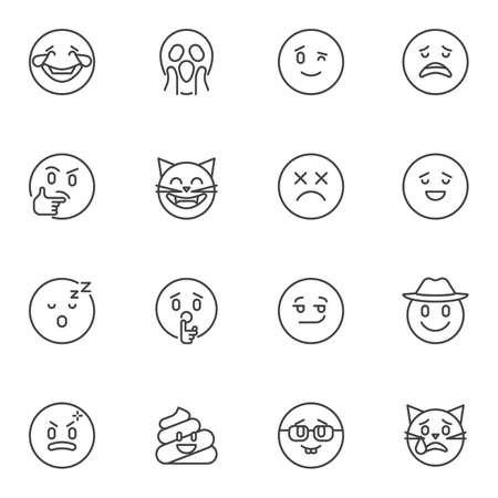 Emoticon line icons set, outline vector symbol collection, emoji linear style pictogram pack. Signs, illustration. Set includes icons as laughing smiley, thinking, sleeping, sad, crying, smiling