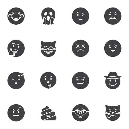 Emoticon vector icons set, modern solid symbol collection, emoji filled style pictogram pack. Signs, illustration. Set includes icons as laughing smiley, thinking, sleeping, sad, crying, smiling Vettoriali