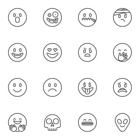 Circle emoji line icons set, emoticon outline vector symbol collection, linear style pictogram pack. Signs, illustration. Set includes icons as happy smiley, crazy, laughing, sad, angry, hugging