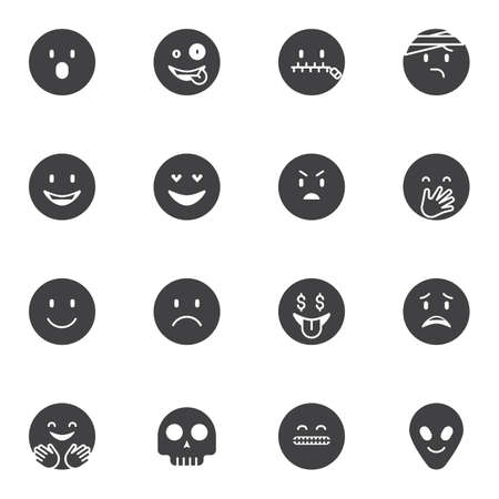 Circle emoji vector icons set, emoticon modern solid symbol collection, filled style pictogram pack. Signs, illustration. Set includes icons as happy smiley, crazy, laughing, sad, angry, hugging Vettoriali