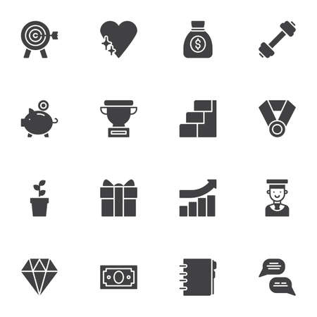 Business motivation vector icons set, modern solid symbol collection, filled style pictogram pack. Signs, illustration. Set includes icons as aim target, money bag, award cup, career ladder