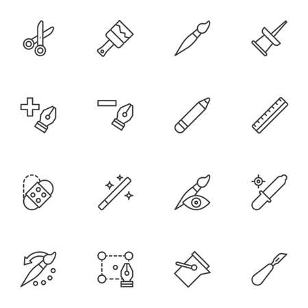 Designer tools line icons set, outline vector symbol collection, linear style pictogram pack. Signs illustration. Set includes icons as drawing and painting, pen tool cursor, push pin, cut, ruler Vettoriali