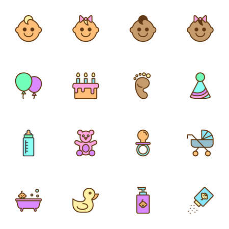Newborn baby filled outline icons set, line vector symbol collection, linear colorful pictogram pack. Signs, illustration, Set includes icons as baby footprint, milk bottle, pram, pacifier, bath Çizim