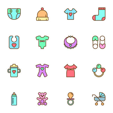 Baby related items filled outline icons set, line vector symbol collection, linear colorful pictogram pack. Signs, illustration, Set includes icons as diaper, clothes, teddy bear toy, safety pin