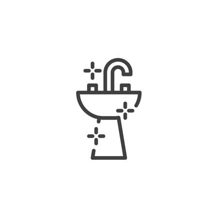 Bathroom sink line icon. linear style sign for mobile concept and web design. Washbasin and water tap outline vector icon. Symbol, logo illustration. Vector graphics