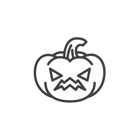 Annoyed pumpkin face emoji line icon. linear style sign for mobile concept and web design. Angry pumpkin emoticon outline vector icon. Symbol, logo illustration. Vector graphics
