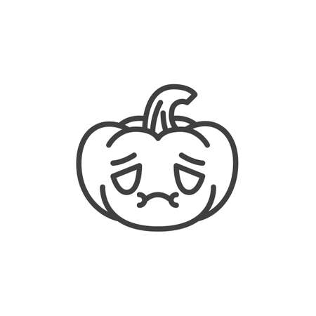 Nauseated pumpkin face emoji line icon. linear style sign for mobile concept and web design. Halloween pumpkin feel sick emoticon outline vector icon. Symbol, logo illustration. Vector graphics Ilustrace
