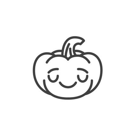 Relieved pumpkin face emoji line icon. linear style sign for mobile concept and web design. Halloween pumpkin anxious emoticon outline vector icon. Symbol, logo illustration. Vector graphics