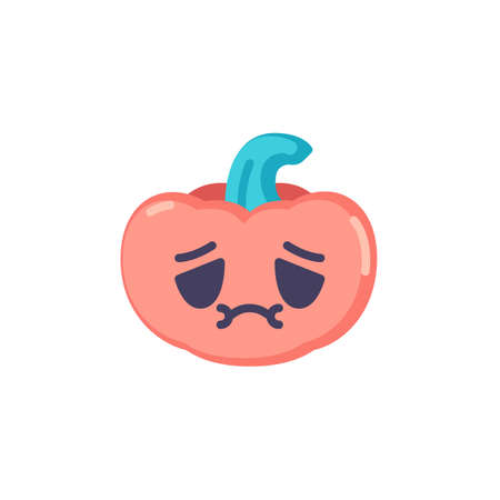 Nauseated pumpkin face emoji flat icon, vector sign, Halloween pumpkin feel sick emoticon colorful pictogram isolated on white. Symbol, logo illustration. Flat style design Ilustrace