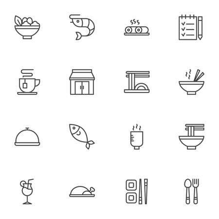 Asian food restaurant vector icons set, modern solid symbol collection, filled style pictogram pack. Signs, logo illustration. Set includes icons as peking duck, sushi roll, noodles, fish seafood