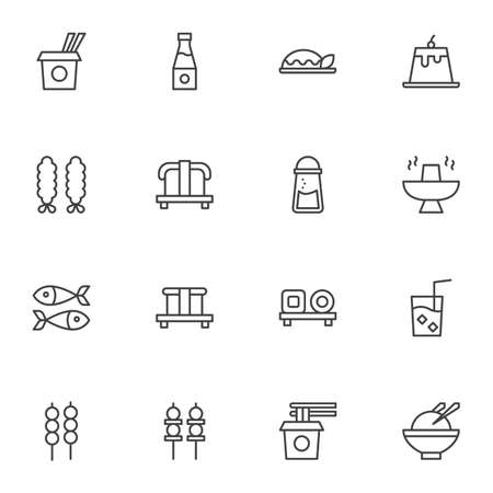 Asian cuisine line icons set, outline vector symbol collection, asian food menu linear style pictogram pack. Signs, logo illustration. Set includes icons as take away noodles, sushi roll, sashimi
