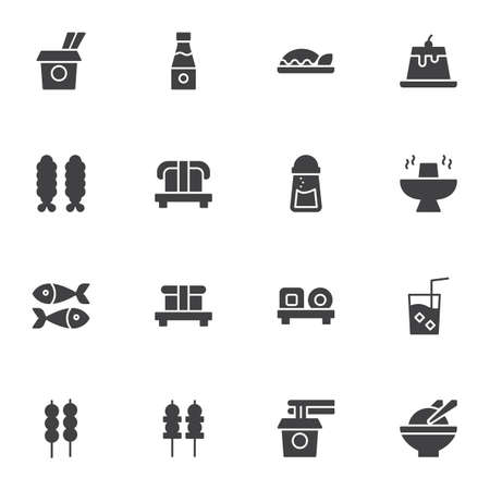 Asian cuisine vector icons set, modern solid symbol collection, asian food menu filled style pictogram pack. Signs, logo illustration. Set includes icons as take away noodles, sushi roll, sashimi