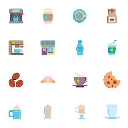 Coffee shop elements collection, flat icons set, Colorful symbols pack contains - coffee maker machine, croissant, cookies, water bottle, hot tea cup, milkshake. Vector illustration. Flat style design