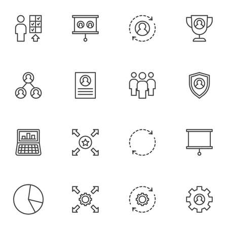Corporate business line icons set, outline vector symbol collection, linear style pictogram pack. Signs, logo illustration. Set includes icons as business management, workgroup, personal skills