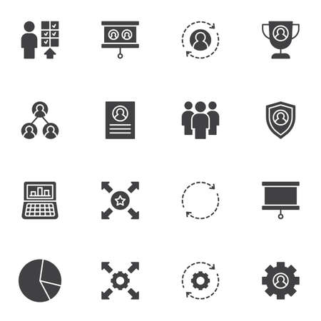 Corporate business vector icons set, modern solid symbol collection, filled style pictogram pack. Signs, logo illustration. Set includes icons as business management, workgroup, personal skills