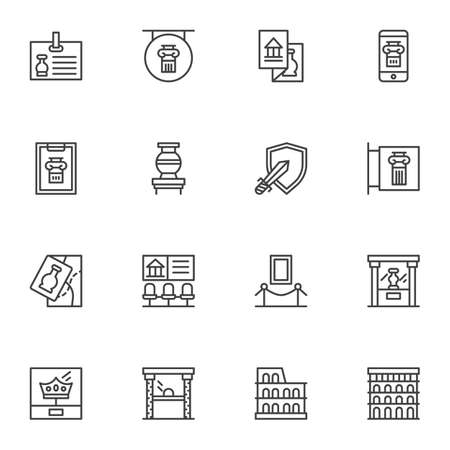 Ancient museum gallery vector icons set, modern solid symbol collection, filled style pictogram pack. Signs, logo illustration. Set includes icons as medieval exhibits, museum display, amphora vase