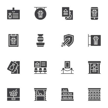 Ancient museum gallery vector icons set, modern solid symbol collection, filled style pictogram pack. Signs, logo illustration. Set includes icons as medieval exhibits, museum display, amphora vase Logo